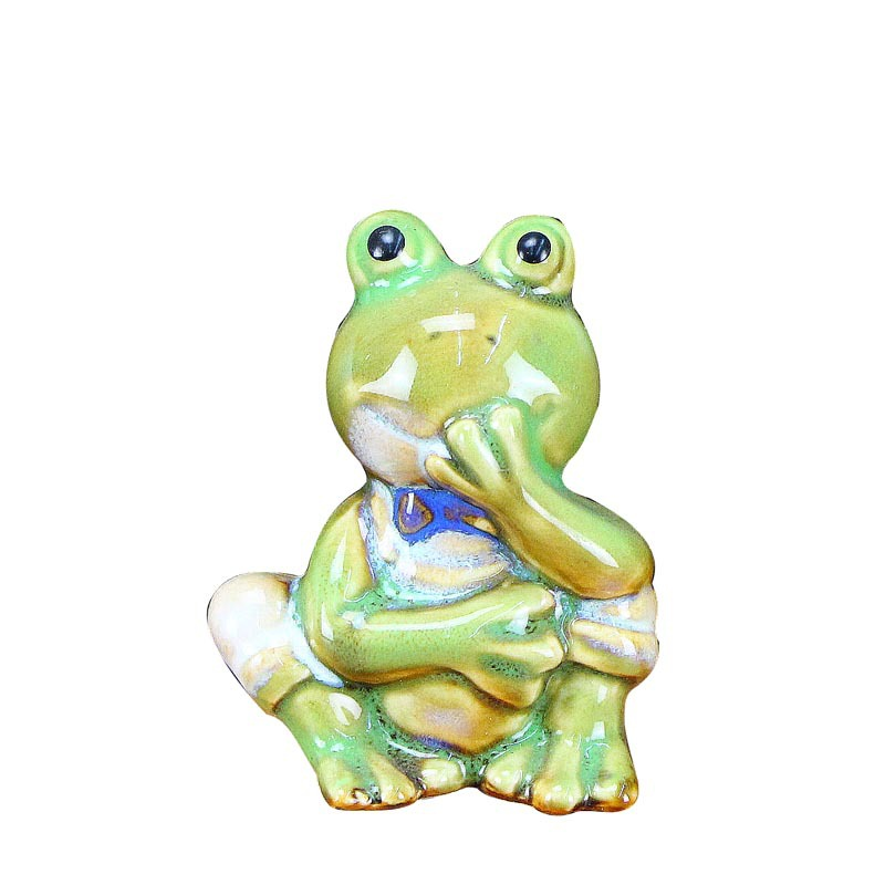 4 pieces set ceramic ornaments frog creative style home table decoration ornaments model in Figurines Miniatures from Home Garden