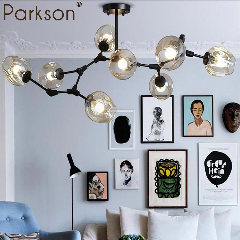цена Modern Glass Pendant Light Nordic Dining Room Kitchen Light hanging Lighting pendant lamp black gold Designer touw Avize Lustre
