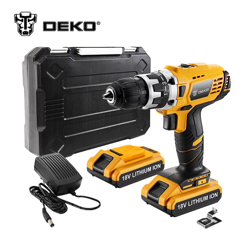 DEKO GCD18DU2 18V 38N.m DC New Design Mobile Power Lithium-Ion Battery Cordless Drill/Driver Power Drill Tools Electric Drill 18v dc lithium ion battery cordless drill driver power tools screwdriver electric drill with battery included