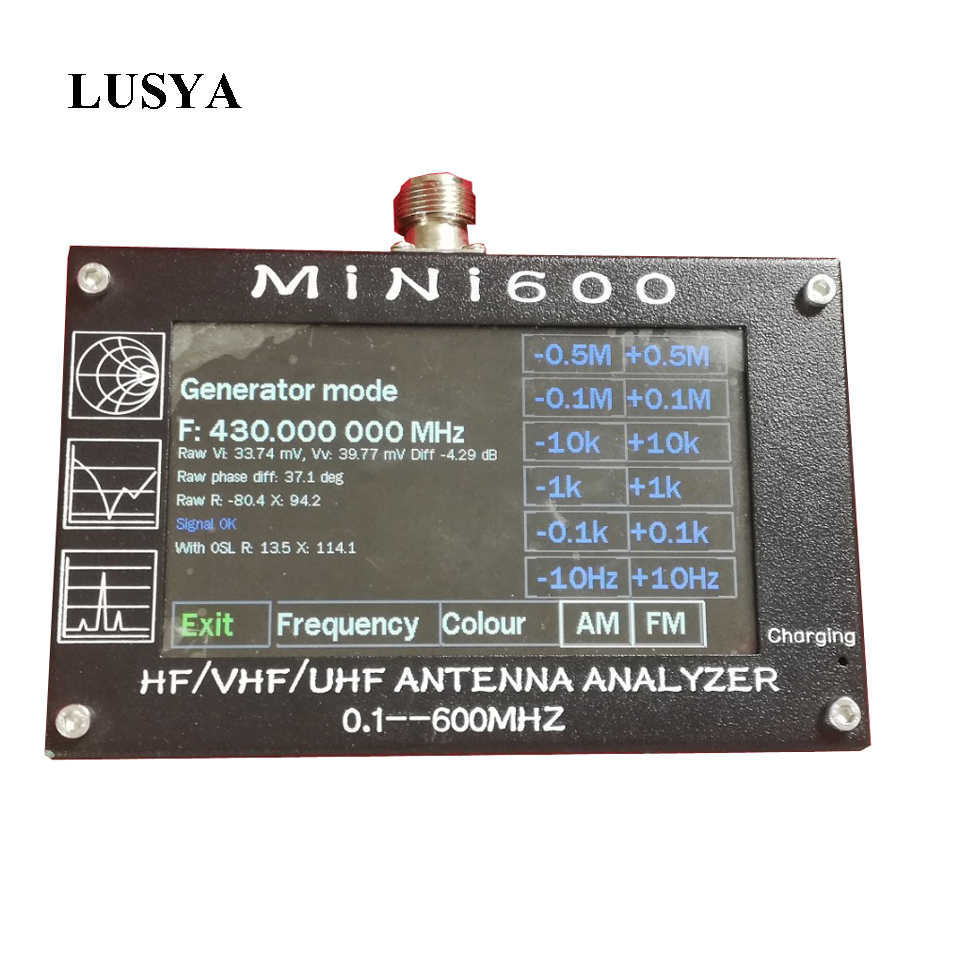 Lusya Mini600 HF Analizzatore di Antenna 0.1-600 mhz VHF UHF SWR Meter 1.0-1999 Per La Radio 5 v /1.5A