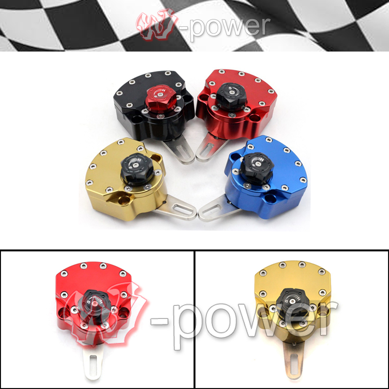 Motorcycle Accessories Stabilizer Steering Damper Universal Adjustable Red / Gold / Blue / Black motorcycle accessories universal steering damper stabilizer new 4 colors