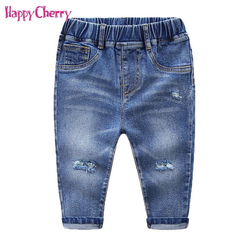 2018 Baby Boys Distrressed Hole Denim Pants Fashion Spring ...