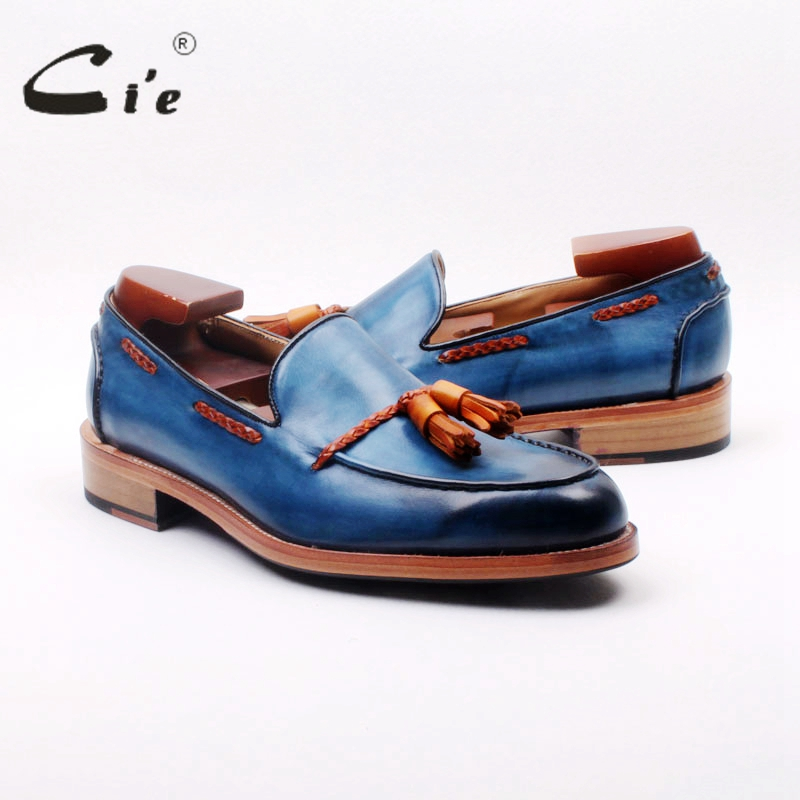 ci'e full grain calf leather bespoke goodyear welted mixed blue/brown custom handmade tassels slip-on men's shoe boat loafer 166