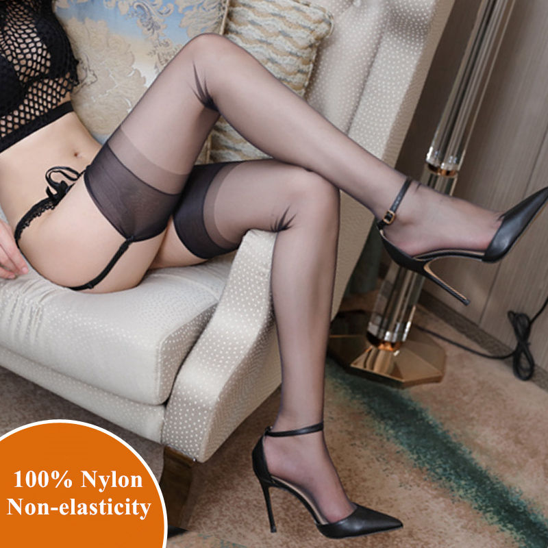 100% Nylon Stockings Ladies Ultra Thin Transparent Thigh High Stockings Over Knee Long Hosiery Non-elasticity Pantyhose