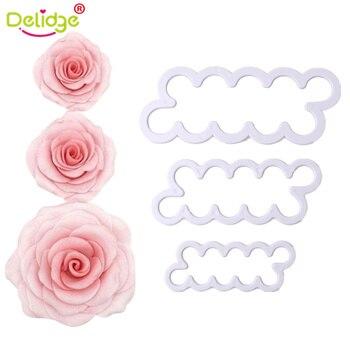 Delidge 3 cái/bộ Tăng Hoa Bánh Máy Ép Nhựa Trắng Rose Flower Fondant Cutter Bánh Trang Trí Molds Biscuit Cutter