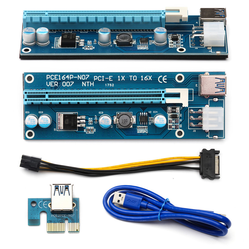 6PCS/Lot PCI-E 007 6Pins 16X Adapter Card Extender Cord USB 3.0 Data Cable Adapter Wire Power Cable Connector for Bitcoin Miner
