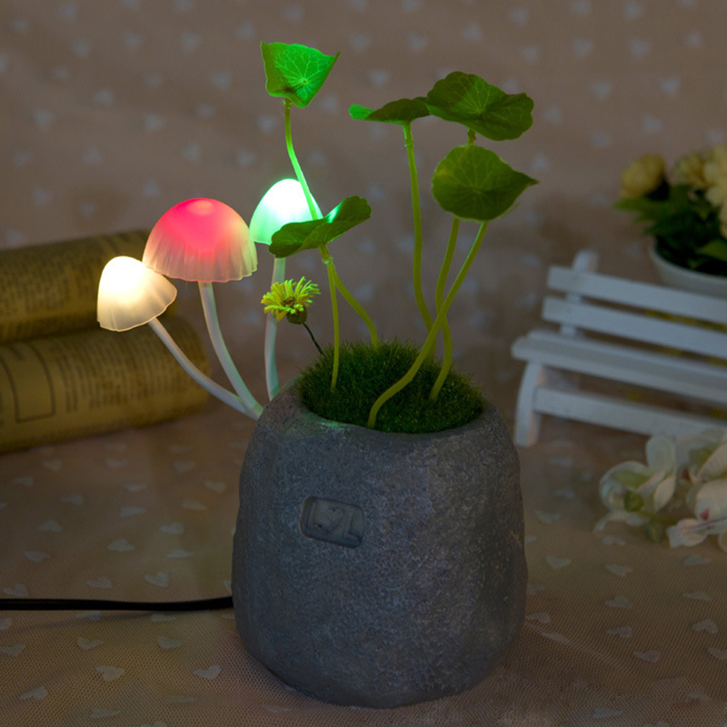 US Plug Mushroom Potted Plant LED Night Light Colorful Lights Sensor Sensitive Lamp For  ...