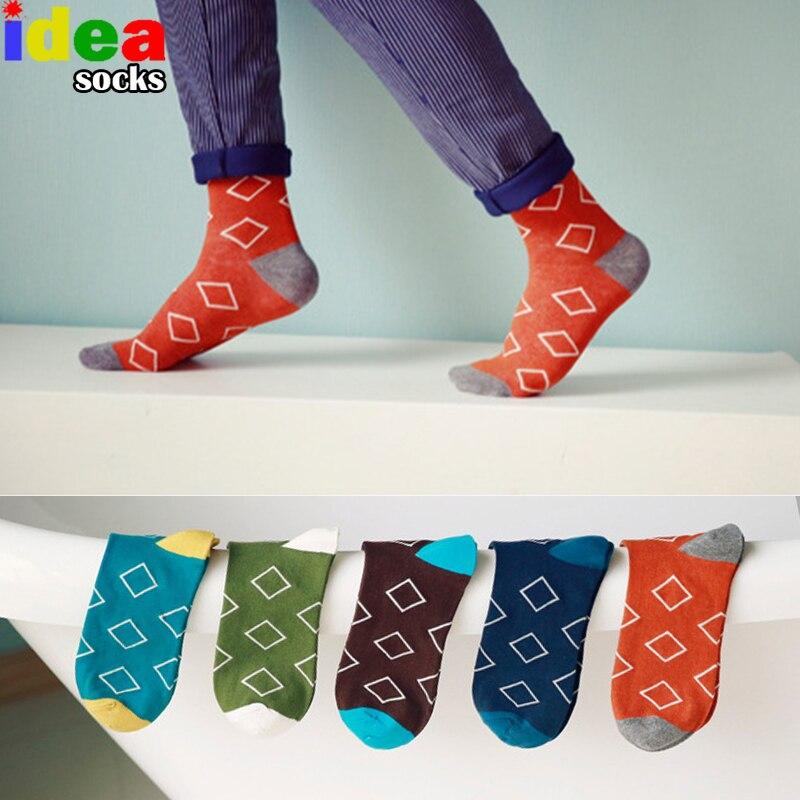 [COCOTEKK] 2017 New mens high quality summer socks geometry lattice cotton dress socks autumn winter fashion casual socks