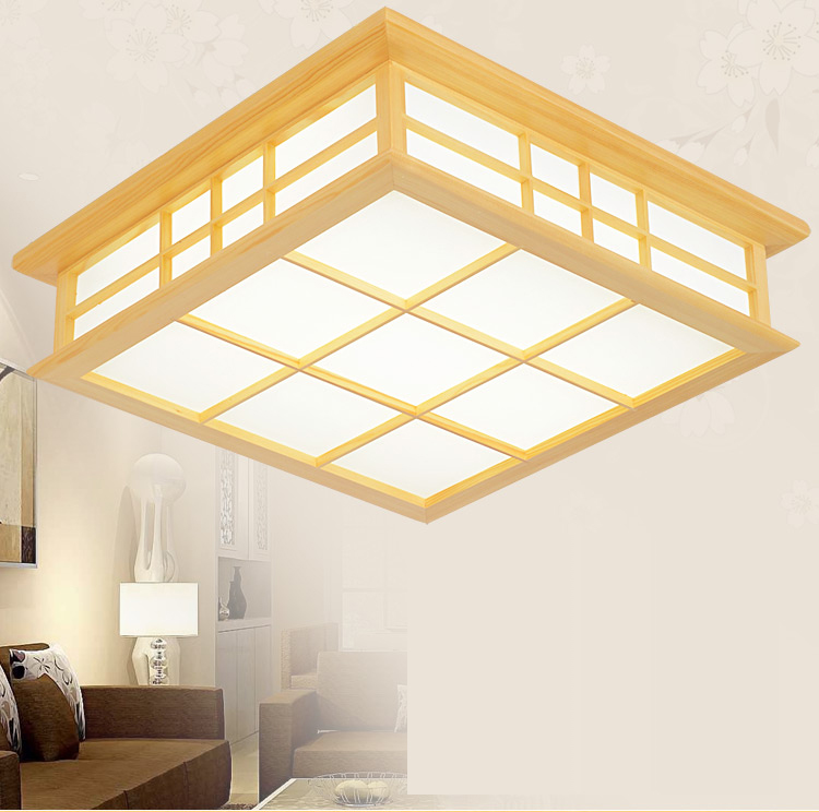 Us 48 0 40 Off Japanese Style Delicate Crafts Wooden Frame Led Ceiling Light Luminarias Para Sala Dimming Led Ceiling Lamp In Ceiling Lights From