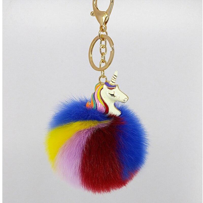 Artificial rabbit hair, fur ball, unicorn key chain pendant, electroplated alloy animal pony, plush key chain bag ornament