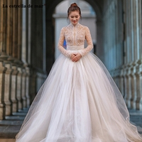 Robe de mariee2018 new high neck lace beaded long sleeve a Line Empire ivory wedding dresses sexy see vestido de novia