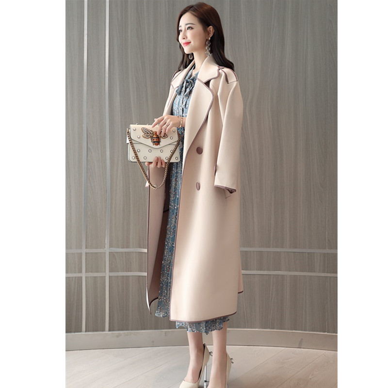 À Okxgnz Vêtement Outwear Double Boutique Mince Blue Trench Pink Boutonnage vent Rice Pour Décontracté Femelle coat Automne Genou Femme Coupe smoky 2019 Moyen Longueur vxqA6Hwx