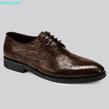 QYFCIOUFU Retro Men Formal Brogues Shoes Luxury Fingertip Cap Dress Shoes Genuine Leather High Quality Cow Leather Lace Up Shoes