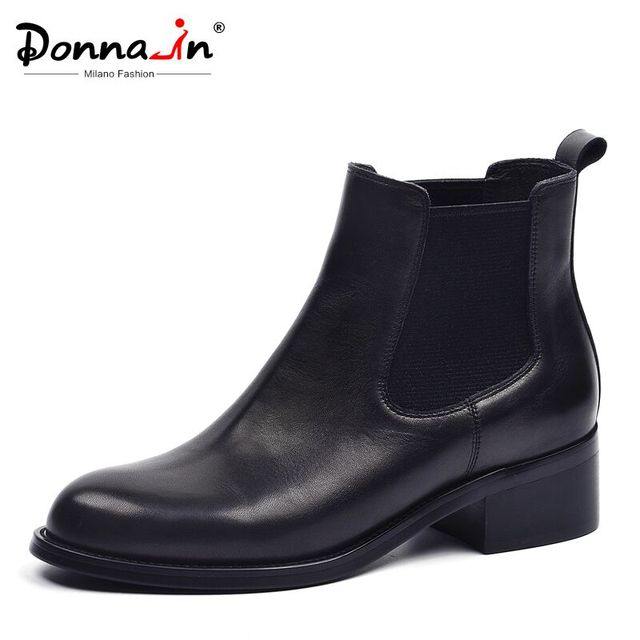 Donna-in Women Boots Autumn Winter Ankle Boots Handmade Genuine Leather Mid Heel Chelsea Black Ladies Round Toe Ankle boots