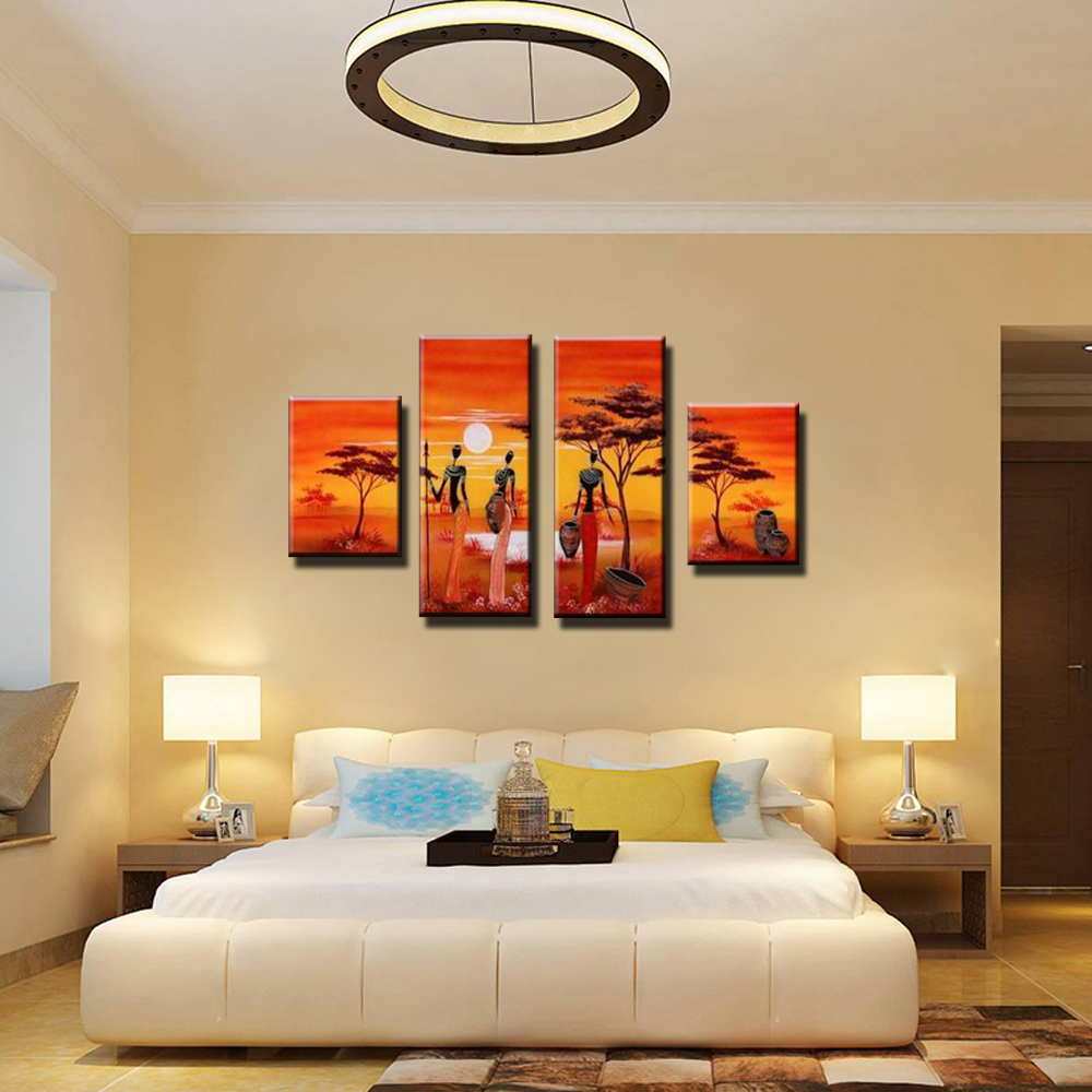 4 piece abstract modern panel canvas wall cheap African women art ...