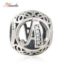 AIMELA 2016 Nuevo Calado 925-Sterling-Silver Letra A Del Alfabeto de Metal Para La Joyería Que Hace Fit Pandora Pulseras DIY LE15A