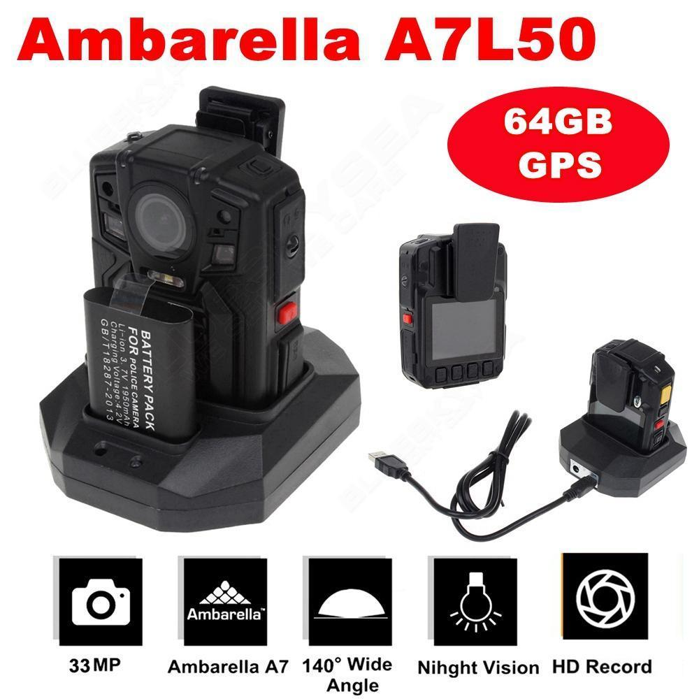 BOBLOV 64 GB + GPS Ambarella A7L50 HD 1296 P Police Corps Porté Caméra IR Lumière 8 Heures 140 degrés