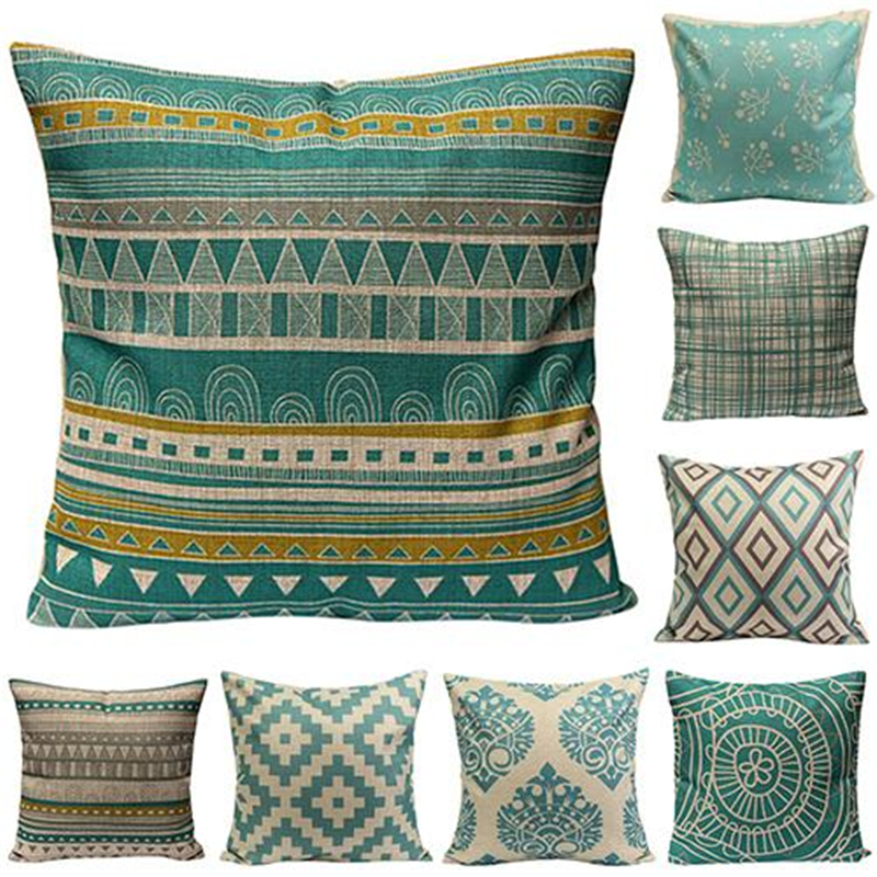 45*45cm Christmas Cotton Linen Throw Pillowcase Home Sofa Soft Vintage Geometric Flower Cushion Cover