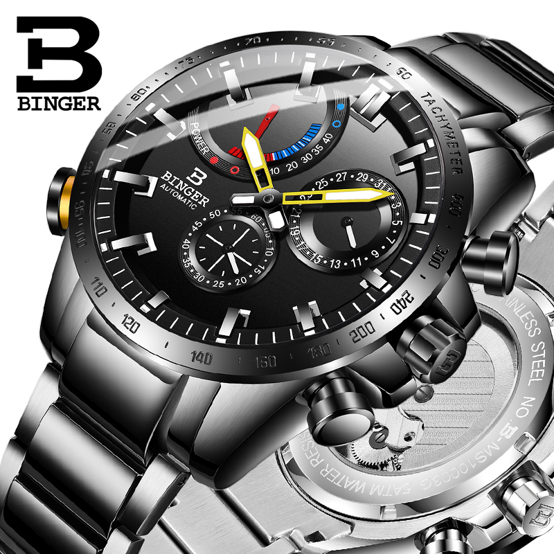 Big Dial Mechanical Watches Men BINGER 5ATM Waterproof Automatic Watch Men Calendar Small Second Dial Sapphire 40H Power Display