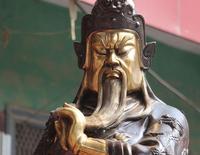 230CM Huge Bronze Gilt Warrior Dragon Guan Gong Yu god Phoenix Ding Censer Set