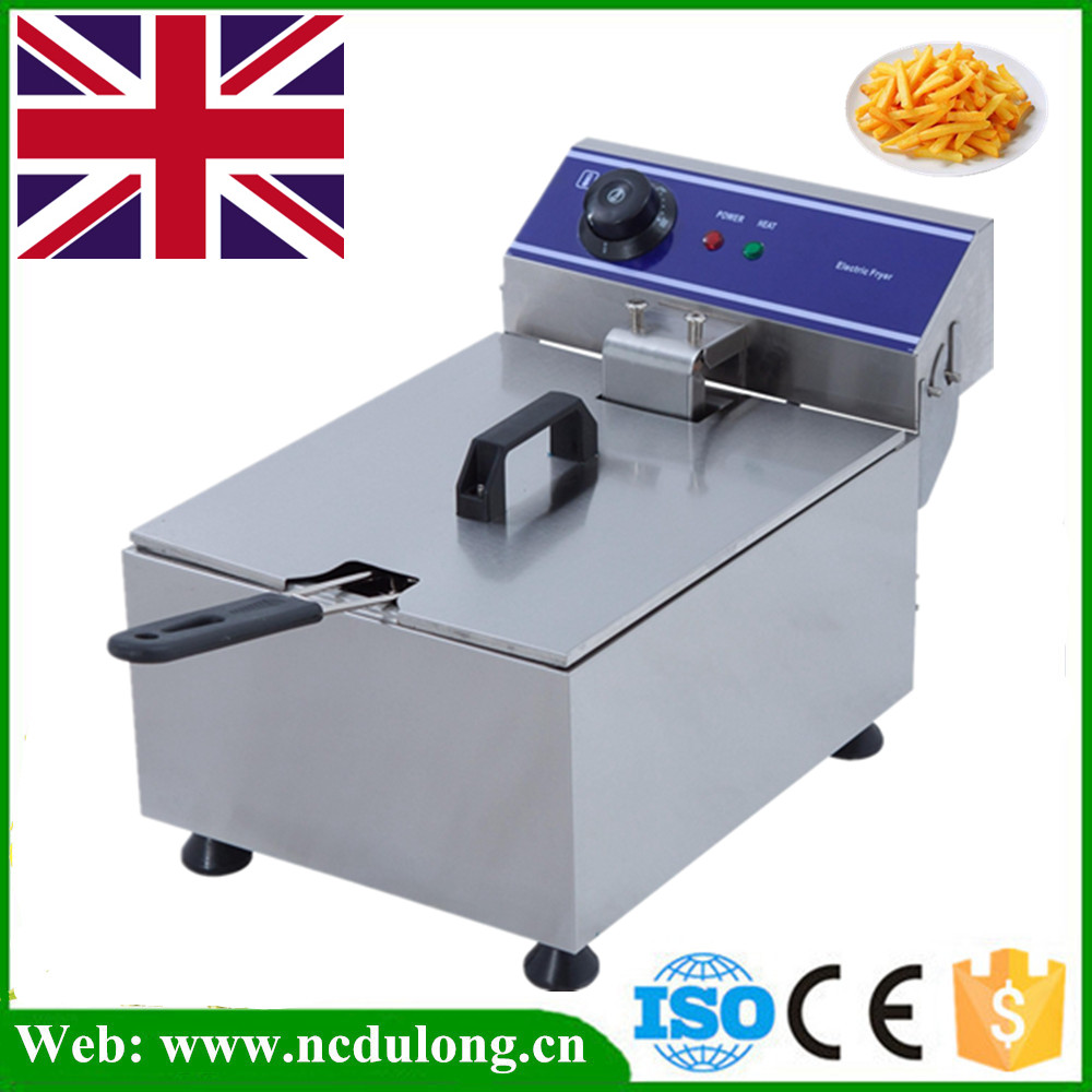 1 Piece 3000W 10L Commercial Electric Deep Fryer Countertop Single Tank Stainless Steel With Basket salter air fryer home high capacity multifunction no smoke chicken wings fries machine intelligent electric fryer