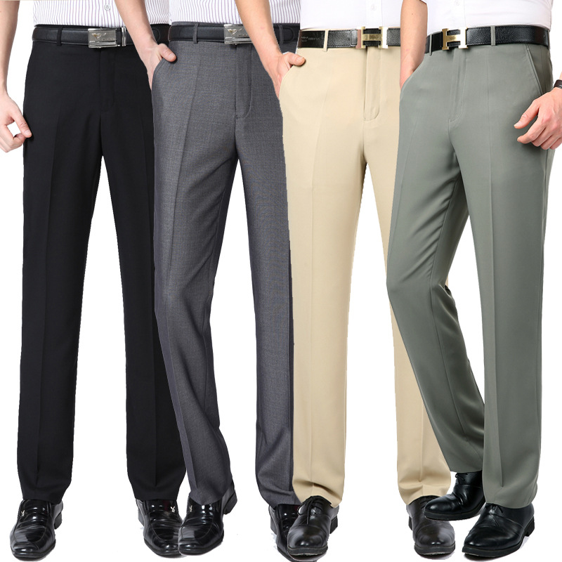 Trousers Suit Pants Business Anti-Wrinkle Wash-Wear Smooth-Dress Men's Summer Thin