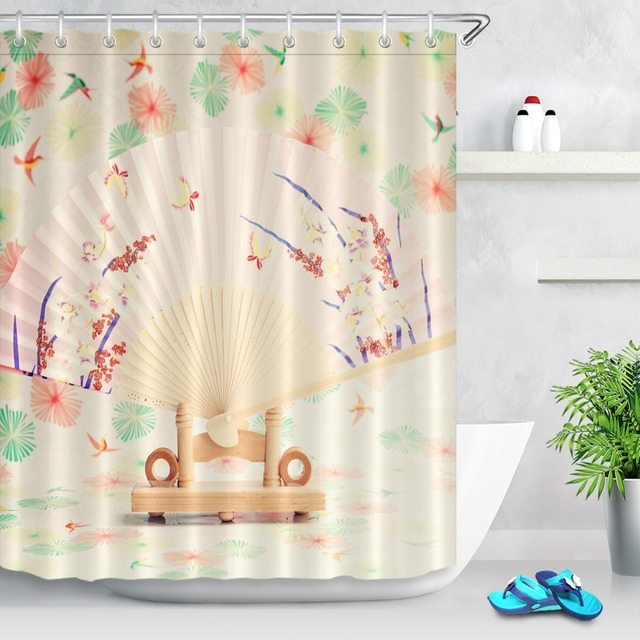72 Chinese Vintage Folding Fan With Butterfly Bathroom Waterproof Fabric Shower Curtain Polyester 12 Hooks Bath Accessory Sets