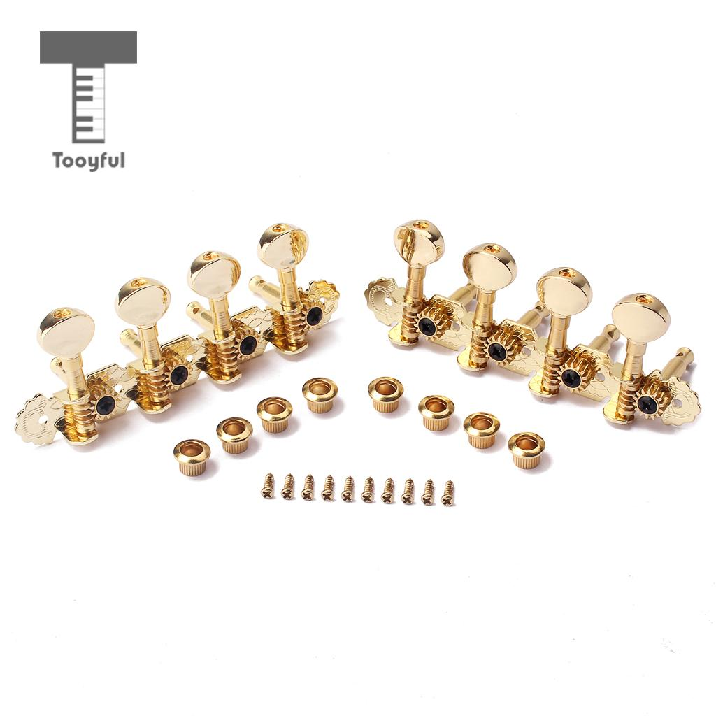 Tooyful 2 Pieces Iron 4L 4R Tuner Tuning Pegs Machine Heads Gold Set for Mandolin/<font><b>8</b></font> <font><b>Strings</b></font> <font><b>Guitar</b></font> Replacement <font><b>Parts</b></font> image