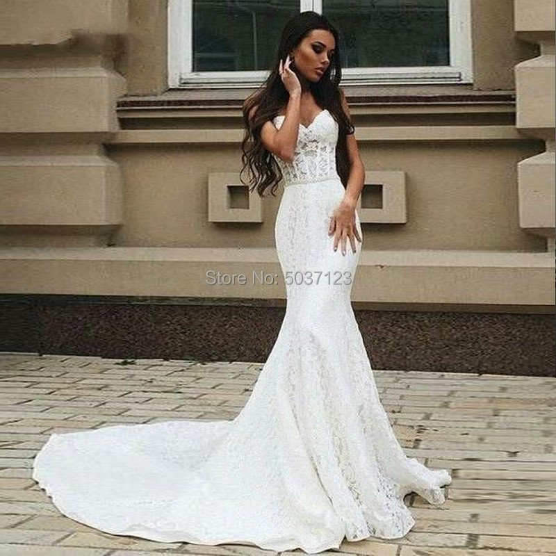 Lace Mermaid Wedding Dress 2019 Sexy Beaded Sash Pearls Dress Sweetheart Lace Up Plus Size Bridal Dress Vestidos De Noivas