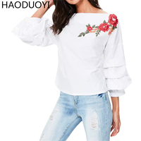 HAODUOYI Fashion Rose Floral Embroidery Blouse Women 2017 New Autumn White Butterfly Sleeve Back Bow Shirts