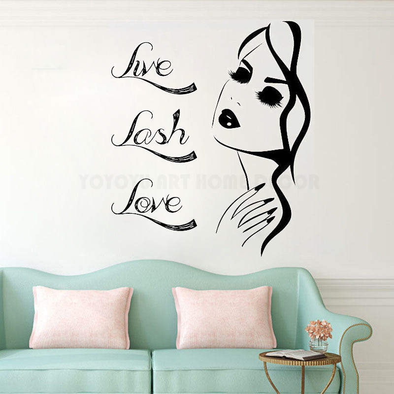 Removable Live Lash Love Quote Women Eyelash Wall Decal Beauty Salon Eyelash Brows Wall Sticker Make Up Window Wall Sticker Y142 ...