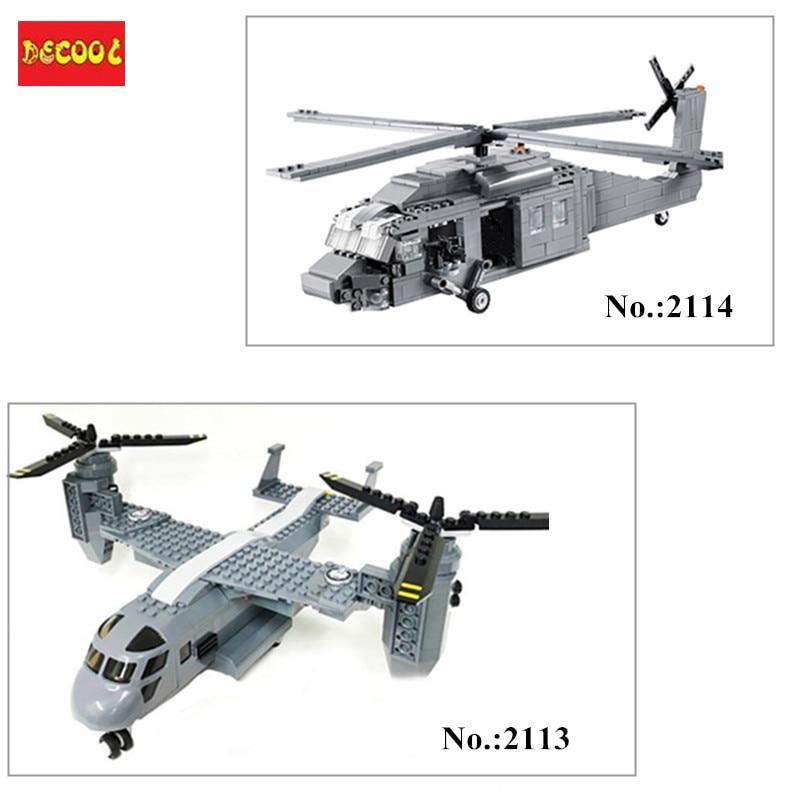 Decool 2114  562Pcs/ 2113 318Pcs BuildingBlocks Military UH-60 BLACK HAWK Plane Airplane Helicopter Bricks Blocks Children Toys syma black hawk uh 60 gyro 3ch ик управление s102g