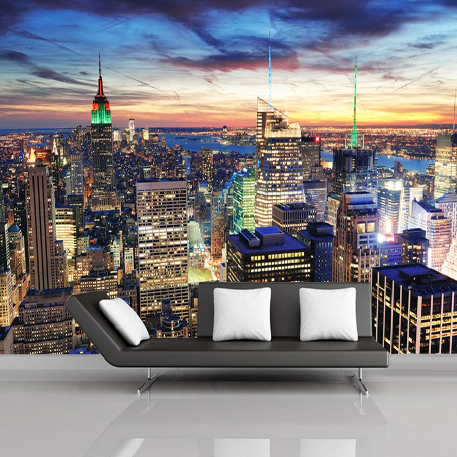online get cheap large wall mural new york aliexpress com beibehang new york night large 3d flooring wall papers home decor mural wallpaper for living room