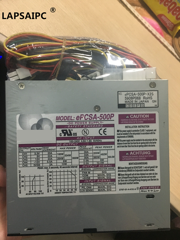 Lapsaipc ePCSA-500P ePCSA-500P-X2S bien testé 100% fonctionnement 500 W alimentation PSU