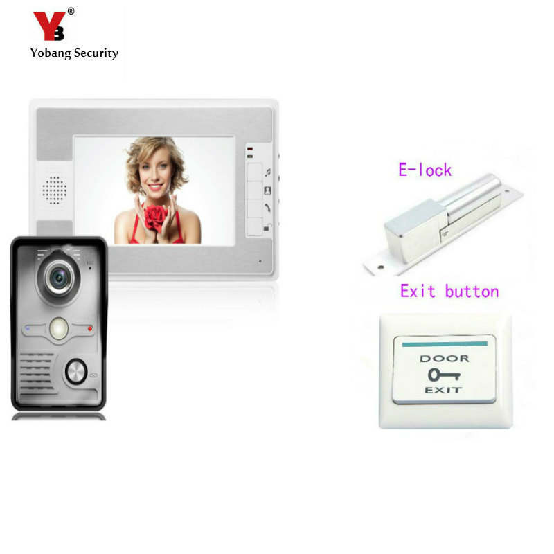 Yobang Security 7 Inch Video Doorbell Phone Video intercom Kit 1-camera 1-monitor Night Vision Video Doorbell with Electric lock mountainone 7 video doorbell intercom kit 1 camera 1 monitor