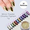 12 Espejo de Color Oro En Polvo Polvo Ultrafino Polvo de Pigmento Pigmento de Cromo de Brillos de Uñas Lentejuelas Uñas Decoración de Uñas 1g