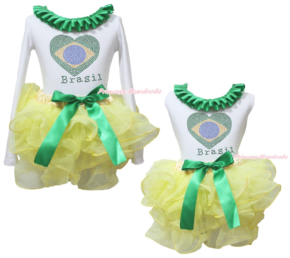 World Cup Brazil Heart White Top Yellow Girls Petal Pettiskirt Outfit Set NB-8Y 2014 brazil world cup fans mini horn three tubes speaker red pink yellow 3 pcs family kits