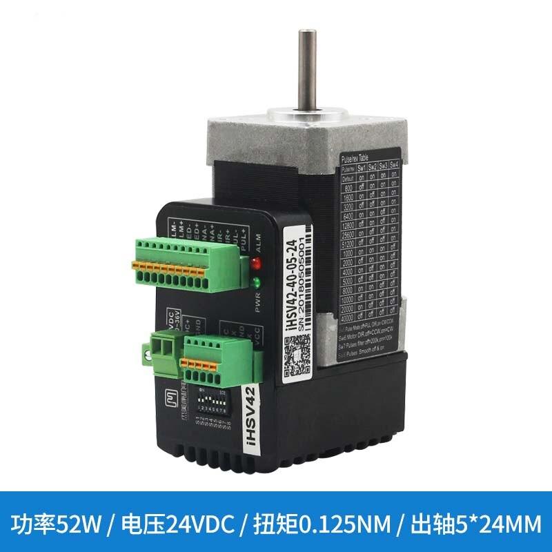 Nova 50 W Integrado AC servo motor NEMA 17 iHSV42-40-05-24 Eixo 5mm trabalho 24VDC 1.5NM saída torque MÁXIMO 1000 linhas do motor codificador