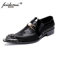 New Arrival Pointed Toe Slip on Man Formal Dress Loafers Genuine Leather Handmade Metal Tips Wedding Party Men's Shoes SL365