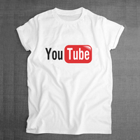 Youtube Logo Sublimation Print Men Funny T Shirt Boys Print White Tshirt 2016 Summer Style Tee