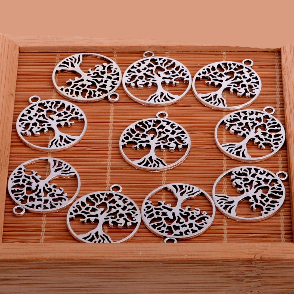 Bracelet Pendants Crafts Necklace Tree Charms Jewellery-Making Silver Wholesale Lot 10pcs