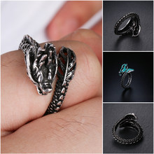 New Fashion Adjustable 925 Sterling Ancient Silver Opening Dragon Ring Luminous Glow in the Dark Unisex Gift Jewelry(China)