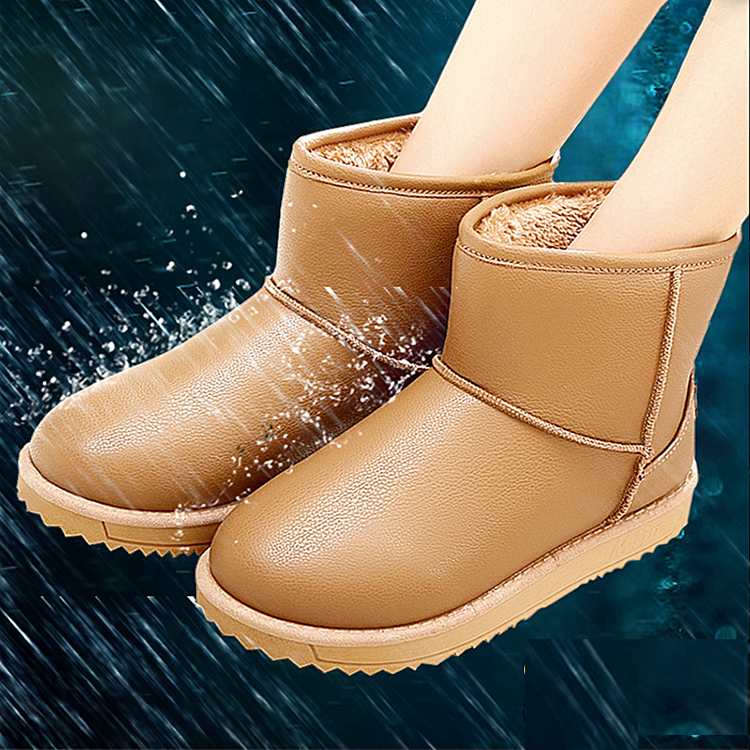 купить 2016 New women Winter Boots waterproof snow boots fashion Fur warm ankle Boots antiskid flat boots plus size ALF24B дешево