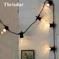 Thrisdar 10 20 LED Globe Festoon LED Fairy String Light Outdoor G50 Clear Globe Bulb Christmas Wedding Party Patio Hanging Light