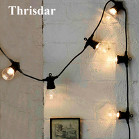 Thrisdar 10 20 LED Globe Festoon LED Fairy String Light Outdoor G50 Clear Globe Bulb Christmas Wedding Party Patio Hanging Light