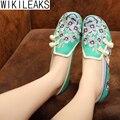 Venda quente 2016 Mulheres Plus Size Ocasional Apartamentos Floral Fivela Sapatos De Linho Mulher Bordado Estilo Chinês Pano Sapatos