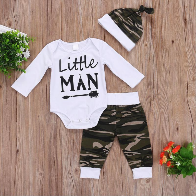 Baby Cothing Sets Newborn Long Sleeve White Letter Rompers bodysuits + Camouflage Pants + Hat 3Pcs Outfits Baby Boys Clothes Set