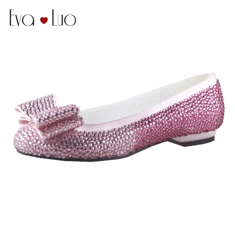 CHS466 hecho a medida fucsia Rosa diamantes de imitación cristal mujeres zapatos planos novia boda Zapatos de vestir Ballet pisos talla grande-in Zapatos planos de mujer from zapatos    1