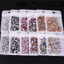 Mix Sizes High Quality 31 Color Crystal Glass Non Hotfix Flatback Nail Rhinestones For DIY Nails 3D Nail Art Decorations Gems