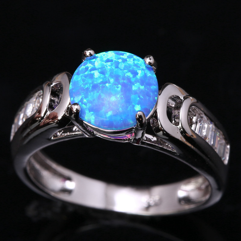 Jewelry & Accessories Bright Bezel Setting Bowknot Sky Blue Fire Opal & White 925 Sterling Silver Jewelry Us# Size 6 7 8 9 Sf1293